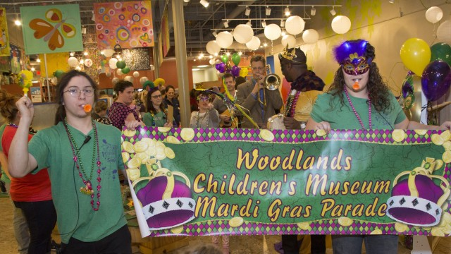 Live musicians, costumes, king cakes, beads, masks and a parade await all who visit The Woodlands Children's Museum on Tuesday, Feb. 28, to celebrate Mardi Gras.