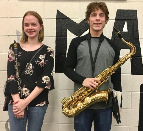 Magnolia High All-State Band students Jenna Stone and Jeffrey Kean