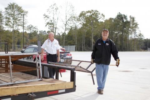 Delivering furniture.