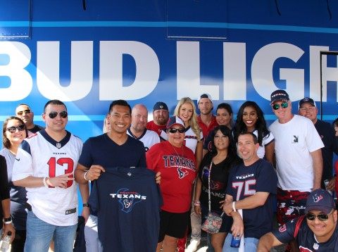 In advance of Veteran's Day, 28 San Antonio-area members of the military and their guests were treated to a trip to Houston to see the Houston Texans take on the Indianapolis Colts at the NFL's 'Salute to Service' game.