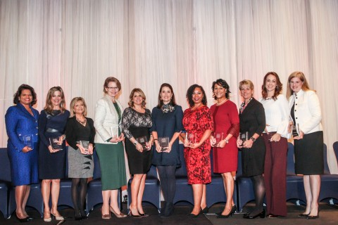 The 2017 Trailblazers (pictured from left):  Rhonda Arnold, Houston Airport Systems; Linda Head, Lone Star College System; Brenda James, Clayton Services; Brenda Mainwaring, Union Pacific Railroad; Nina Marino, Nina Marino Real Estate; Judy Olson, Spirit of Texas Bank; Shelia Redmon-Jones, North Houston District; Michelle Riley-Brown, Texas Children's Hospital; Jennifer Stewart, SWN; Angela Strong, A Strong CPA, LLC; and Gindi Vincent, ExxonMobil.