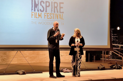 "Festival Programmer David Holbrooke and Festival Director Jane Minarovic welcome the 2017 Inspire Film Festival guests to ""Films and Food For the Soul"" the short films night that benefited Interfaith Charities Food Pantry Program."