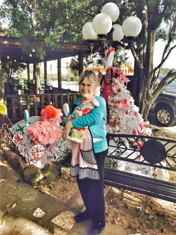 Winner of Best Overall Holiday Lamp Post – Pat Wilson from Nonnie's Creamery and Café on Market Street at the historic downtown depot.