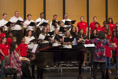 The LSC-Tomball Concert Choir performs alongside singers from the Tomball Intermediate School choir at last year's Fall Concert.