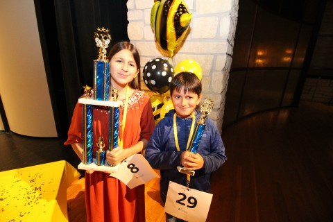 Twin Creeks Middle School seventh-grader Gabriella Sucacin and her brother, Hirsch Elementary fifth-grader Emanuel Sucacin proudly display their trophies after taking top honors at the Spring ISD District Spelling Bee.