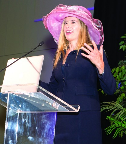 In this April 28, 2017, photo, Oscar-award winning actress, Mira Sorvino, who was the guest speaker at the 9th annual Tea on the Lawn fundraiser held at the Lone Star Convention Center, shared her personal accounts of combating human trafficking around the world. The event is designed to raise money and awareness on behalf of New Danville, a community in Willis which provides individuals with intellectual and developmental disabilities various opportunities to live enriched and purposeful lives.