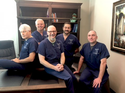 L-R: Robert David Reeves, M.D., (Left -sitting on table) Bryan Behne, M.D., Stephen Dalati, M.D., Blake Berryhill, M.D., Marco Giannotti, M.D., (sitting on table far right)