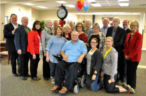 Mr. Steven Vaughan is the Greater Tomball Area Chamber of Commerce's 2017 Citizen of the Year. He is pictured, front, with past Citizen of the Year recipients as well as his family.