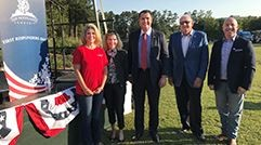 First Responders were recognized at Town Green Park on September 11, 2017. The Woodlands Township Board of Directors in attendance included, left to right, Secretary Laura Fillault, Treasurer Ann Snyder, Chairman Gordy Bunch, Bruce Rieser and John Anthony Brown.
