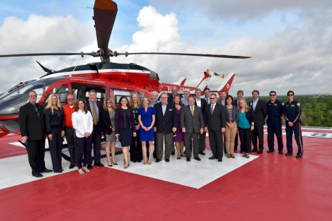 The Memorial Hermann The Woodlands Medical Center's Advisory Council on the Memorial Hermann Life Flight® helipad after its last quarterly meeting of 2017.